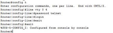 Ρύθμιση password για virtual telnet
